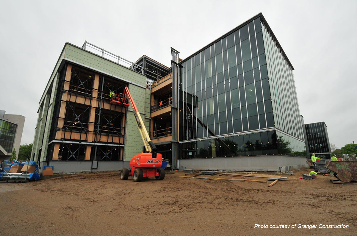 Photo of the exterior of the STEM building under construction