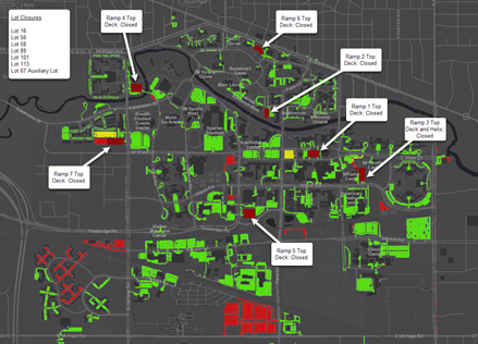 Parking lot map showing closures