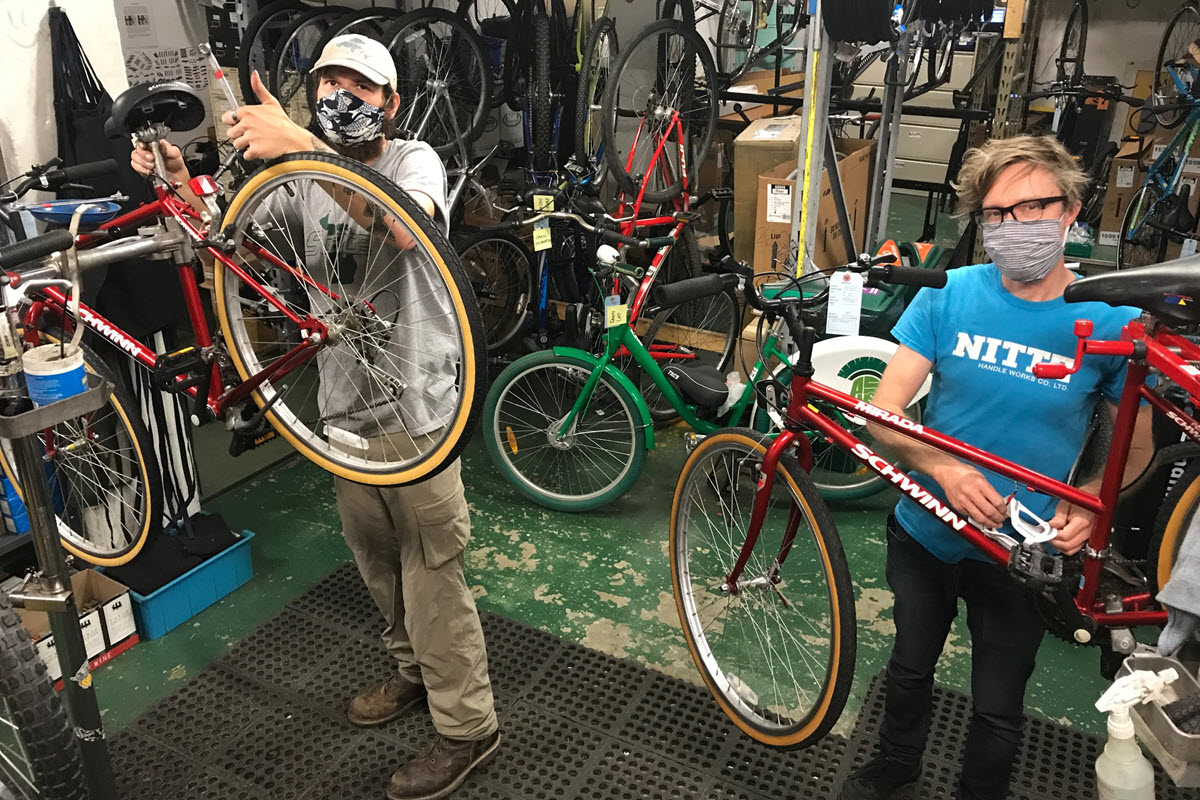 Photo of MSU Bikes Service Center Staff at work